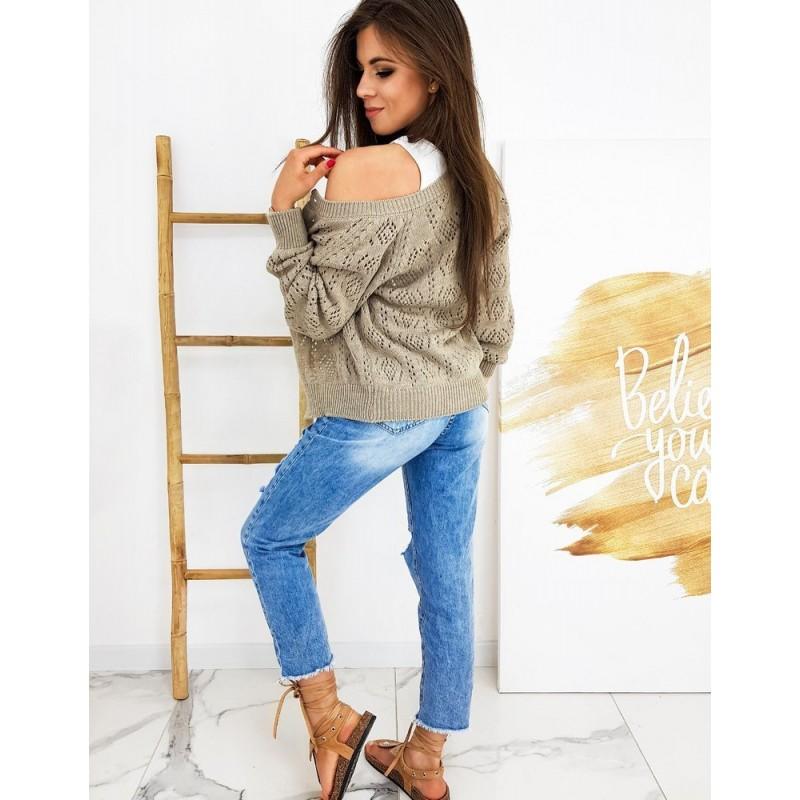 Béžový ažurový svetr se zapínáním pro dámy