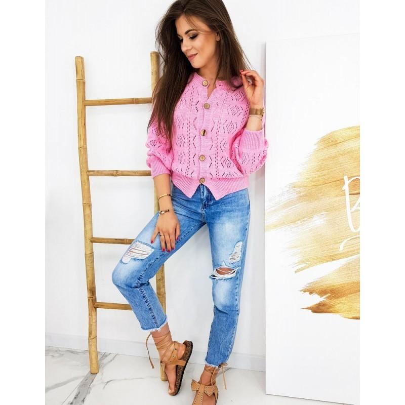 Ažurový dámský svetr růžové barvy se zapínáním