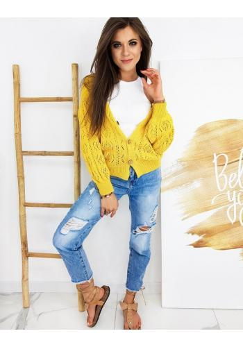 Dámské ažurové svetry se zapínáním ve žluté barvě