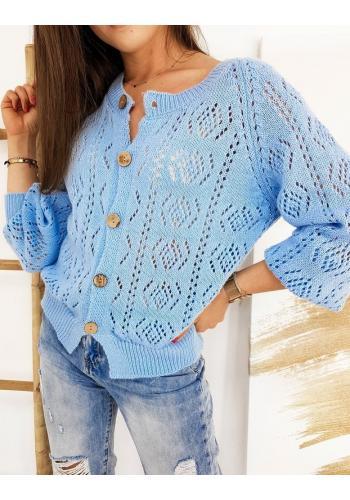 Světle modrý ažurový svetr se zapínáním pro dámy