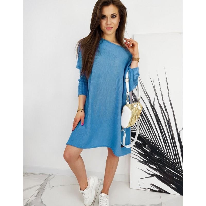 Oversize dámský svetr tyrkysové barvy ve stylu šatů