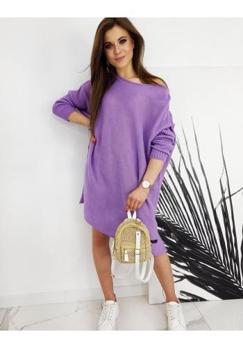 Dámský oversize svetr ve stylu šatů ve fialové barvě