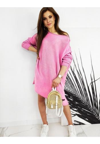 Růžový oversize svetr ve stylu šatů pro dámy