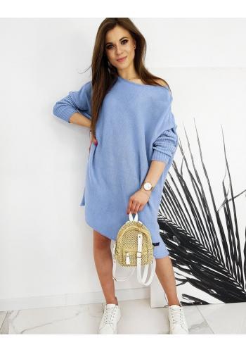Oversize dámský svetr světle modré barvy ve stylu šatů