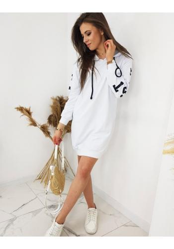 Bílá dlouhá mikina s potiskem pro dámy