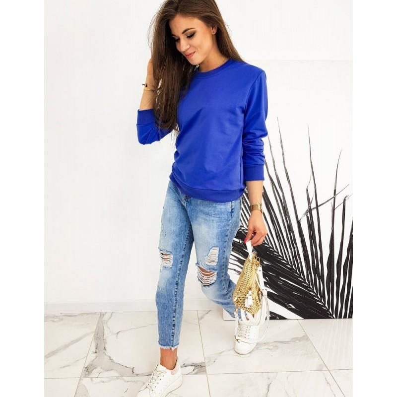 Klasická dámská mikina modré barvy bez kapuce