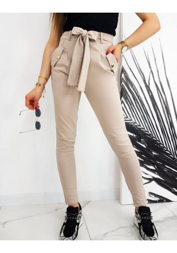 Dámské módní kalhoty s vysokým pasem a vázáním v béžové barvě
