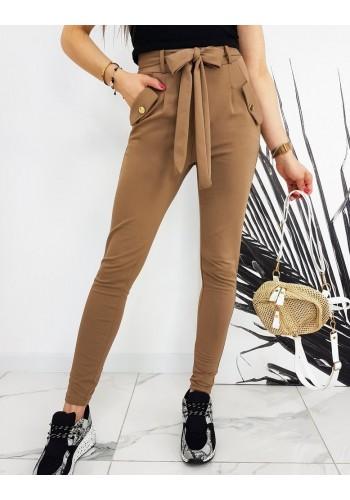 Módní dámské kalhoty hnědé barvy s vysokým pasem a vázáním