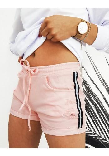 Stylové dámské kraťasy růžové barvy s pásy na boku