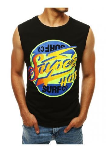 Černé letní tričko s barevným potiskem pro pány