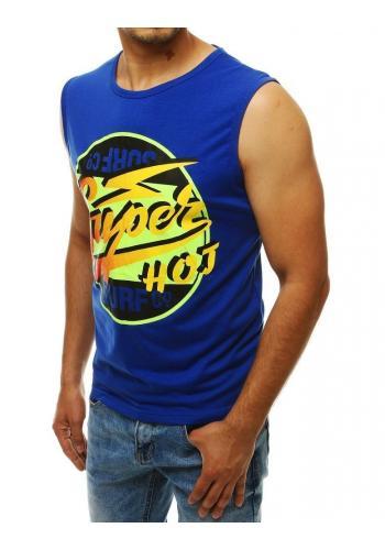 Letní pánské tričko modré barvy s barevným potiskem