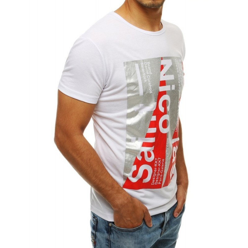 Stylové pánské tričko bílé barvy s potiskem
