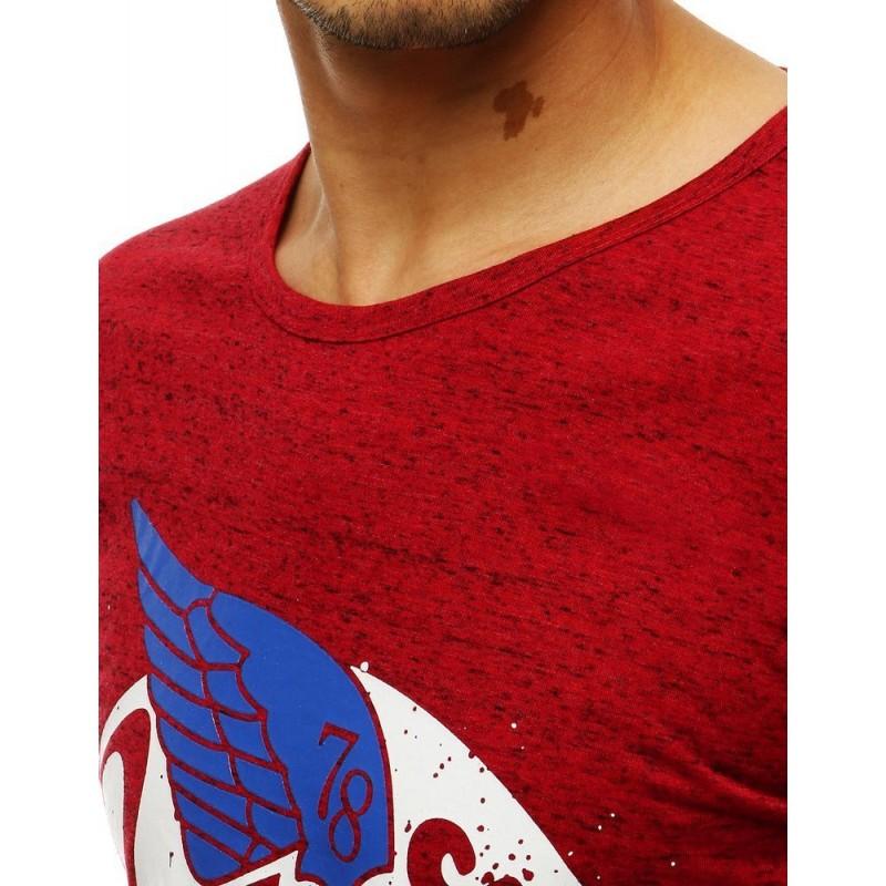 Červené módní tričko s potiskem pro pány