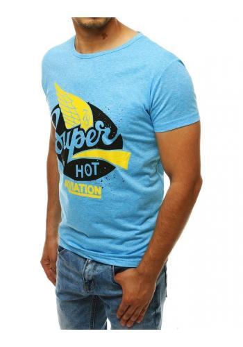 Pánské módní tričko s potiskem v světle modré barvě