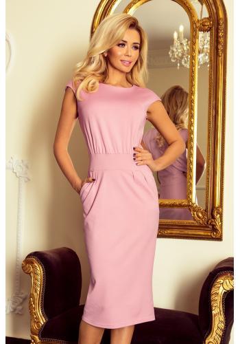 Úzké dámské šaty s vyšším pasem v starorůžové barvě