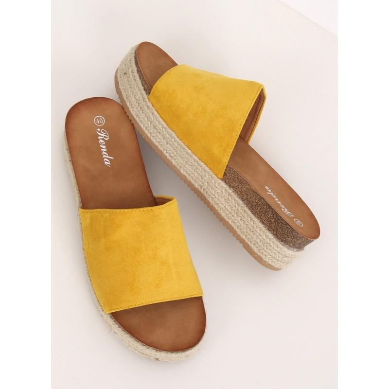 Žluté semišové pantofle na vysoké podrážce pro dámy