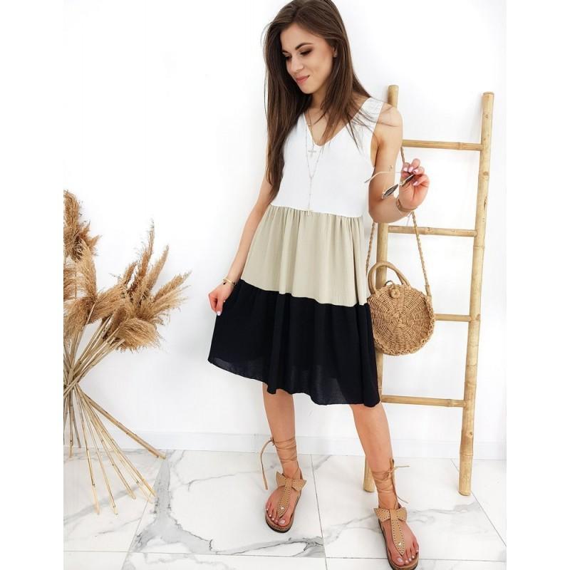 Dámské letní šaty bez rukávů v černo-bílé barvě