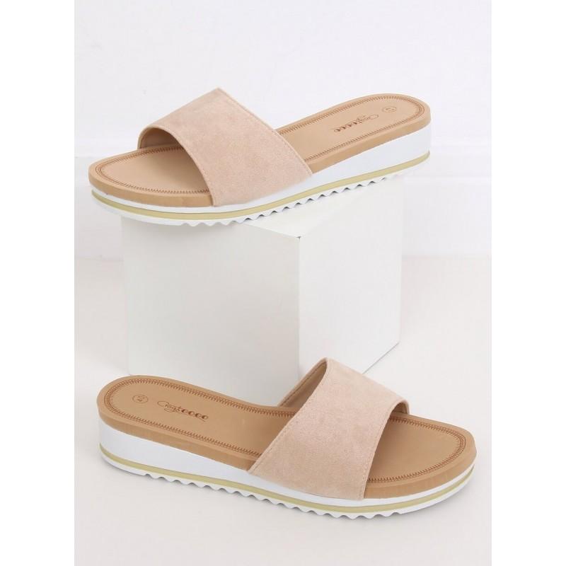 Dámské semišové pantofle s bílým klínovým podpatkem v béžové barvě