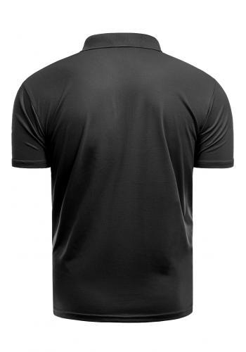 Pánská vypasovaná polokošile s třemi knoflíky v černé barvě