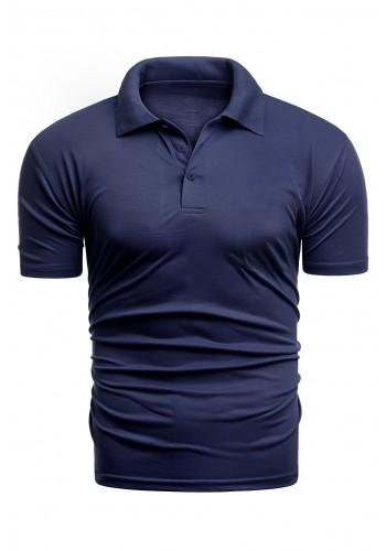 Pánská vypasovaná polokošile s třemi knoflíky v tmavě modré barvě