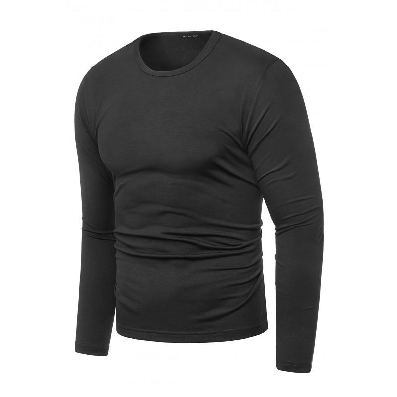 Klasické pánské tričko černé barvy s dlouhým rukávem