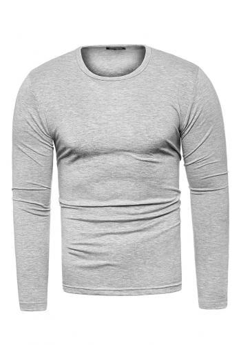 Pánské klasické trička s dlouhým rukávem v šedé barvě