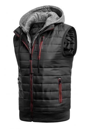 Oteplená pánská vesta černé barvy s kapucí