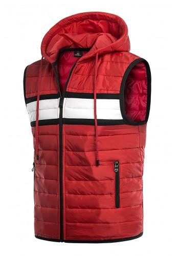 Červená oteplená vesta s kapucí pro pány