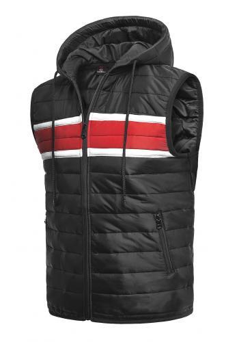 Pánské oteplené vesty s kapucí v černé barvě