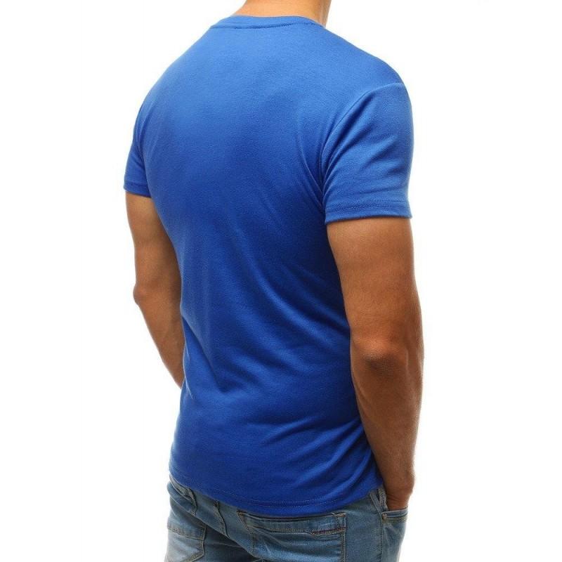 Klasické pánská trička modré barvy s kulatým výstřihem