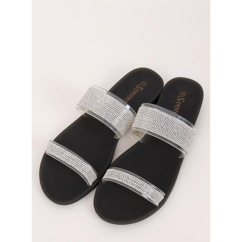 Dámské silikonové pantofle se zirkony v černé barvě