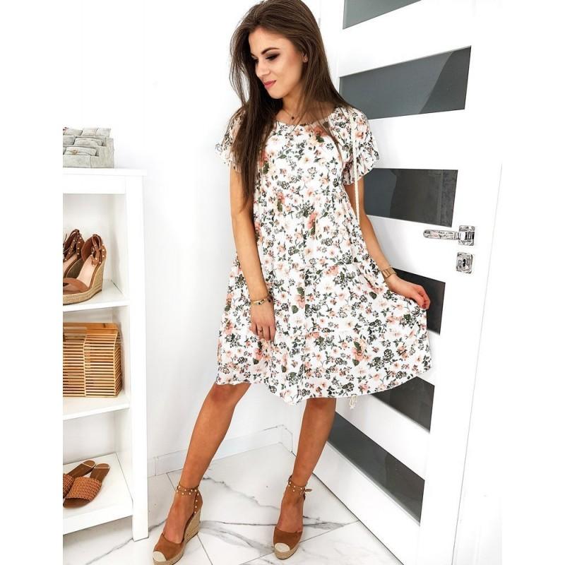 Dámské květované šaty s volány na rukávech v bílé barvě