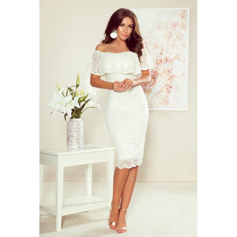 Krajkové dámské šaty bílé barvy s volánem