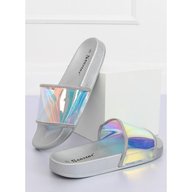 Černé gumové pantofle s holografickým pásem pro dámy