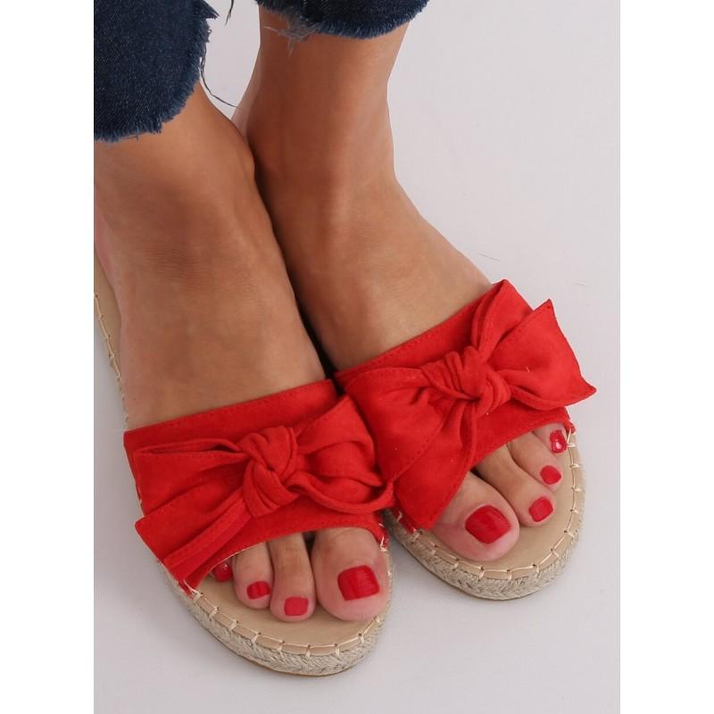 Červené semišové pantofle s mašlí pro dámy