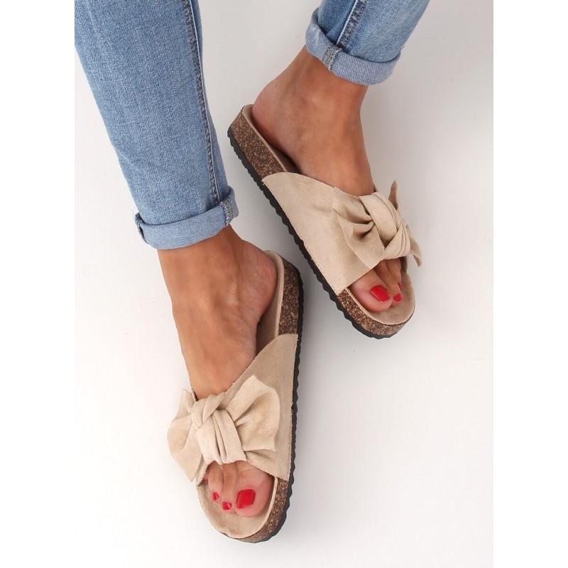 Béžové semišové pantofle na korkové podrážce pro dámy