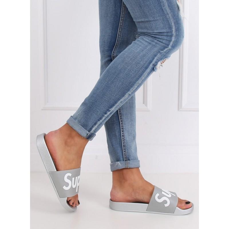 Gumové dámské pantofle šedo-stříbrné barvy s nápisem SUPER