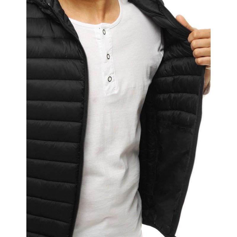 Černá prošívaná vesta s kapucí pro pány