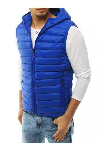 Světle modrá prošívaná vesta s kapucí pro pány