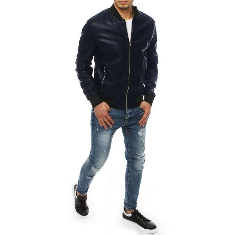 Tmavě modrá kožená bomber bunda pro pány