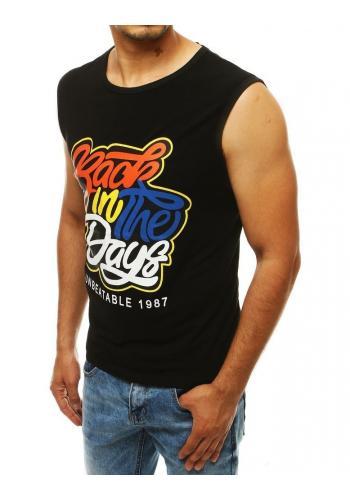 Pánské stylové tričko s barevným potiskem v černé barvě