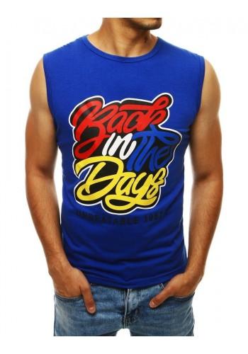 Modré stylové tričko s barevným potiskem pro pány