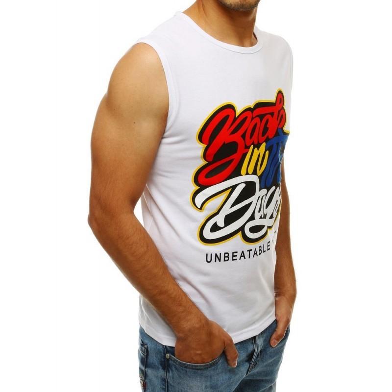 Stylové pánské tričko bílé barvy s barevným potiskem