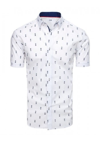 Pánská košile s motivem ananasů v bílé barvě