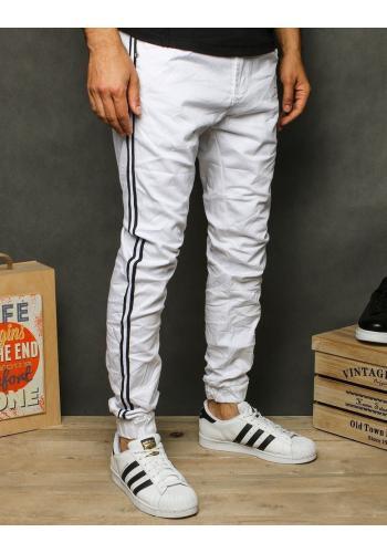 Pánské stylové Joggery s pásy na boku v bílé barvě