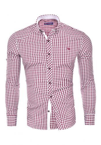 Pánská kostkovaná košile s dlouhým rukávem v červené barvě