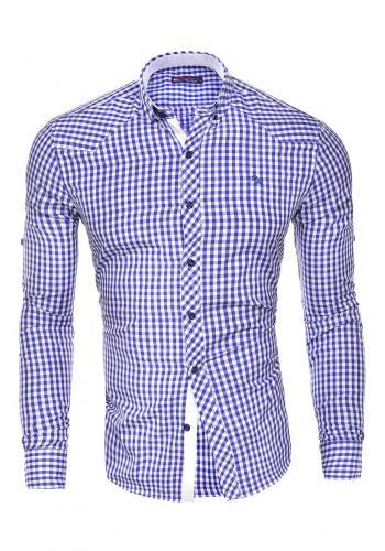 Kostkovaná pánská košile tmavě modré barvy s dlouhým rukávem