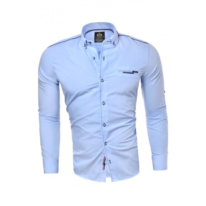 Světle modrá klasická košile s dlouhým rukávem pro pány
