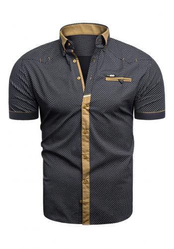 Vzorovaná pánská košile černé barvy s krátkým rukávem