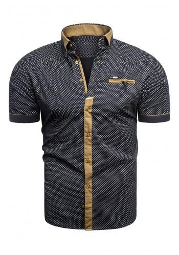 Vzorovaná pánská košile tmavě modré barvy s krátkým rukávem